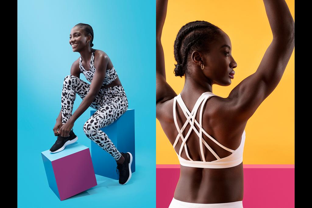 Fitness model in two shots side by side